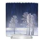 Foggy Sunrise In Yellowstone National Park Shower Curtain