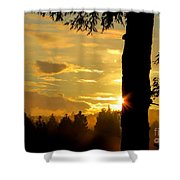 Backyard Sunset Shower Curtain