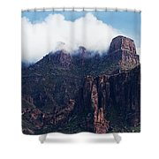 Foggy Superstition Mountains   Shower Curtain