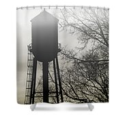 Foggy Tower Silhouette Shower Curtain