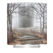 Foggy View Of The Summit Of Mount Battie Shower Curtain