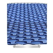 Folding Plastic Blue Seats Shower Curtain