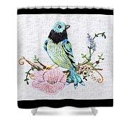 Folk Art Bird Embroidery Illustration Shower Curtain