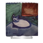 Folk Art Cat Shower Curtain