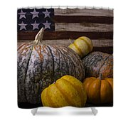 Folk Art Flag And Pumpkins Shower Curtain