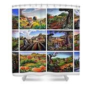 Folk Art Seasonal Seasons Sampler Greetings Rural Country Farm Collection Farms Landscape Scene Shower Curtain