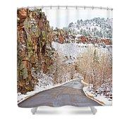 Follow The Red Rock Ridge Winter Road  Shower Curtain