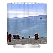 Following The Footsteps Of  Roald Amundsen.. Shower Curtain