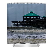 Folly Beach Pier During Sandy Shower Curtain