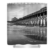 Folly Beach Pier In Black And White Shower Curtain