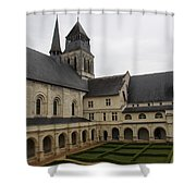 Fontevraud Abbey Courtyard -  France Shower Curtain