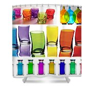 Food Coloring Ensemble Wide-rainbow Theme Shower Curtain