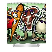 Food Groups Party Shower Curtain