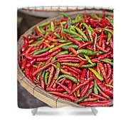 Food Market With Fresh Chili Peppers Shower Curtain