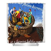 Food Production Lend A Hand With The Potato Harvest Shower Curtain
