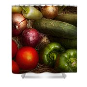 Food - Vegetables - Onions Tomatoes Peppers And Cucumbers Shower Curtain
