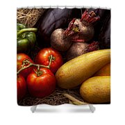 Food - Vegetables - Peppers Tomatoes Squash And Some Turnips Shower Curtain by Mike Savad