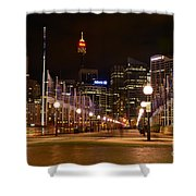 Foot Bridge By Night Shower Curtain