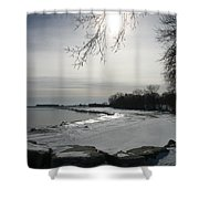 Foot Prints Along The Shore Shower Curtain