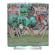 Football Playing Hard 3 Panel Composite Digital Art 01 Shower Curtain