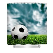 Football Soccer A Leather Ball On Grass Shower Curtain