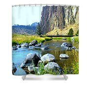 Footbridge At Smith Rock Shower Curtain