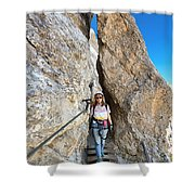 Footbridge On Via Ferrata Shower Curtain