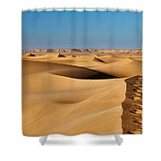 Footprints And 4x4 Offroad Car In Landscape Of Endless Dunes In Sand Desert  Shower Curtain
