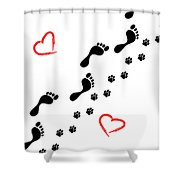 Sleep Walking The Dog Shower Curtain
