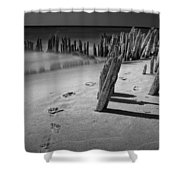 Footprints In The Sand Among The Pilings Shower Curtain