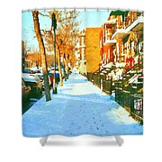 Footprints In The Snow Montreal Winter Street Scene Paintings Verdun Christmas  Memories  Shower Curtain