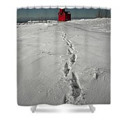 Footprints Leading From The Lighthouse Big Red During Winter Shower Curtain