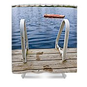 Footprints On Dock At Summer Lake Shower Curtain