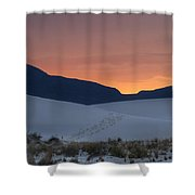 Footsteps In White Sands Leading To Sunset Shower Curtain
