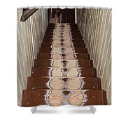 Footsteps On Wooden Stairs Shower Curtain