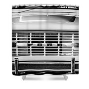 Ford Bronco Grille Emblem -0014bw Shower Curtain