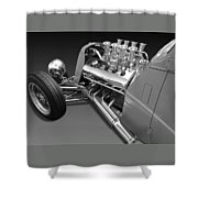 Ford Coupe Hot Rod Engine In Black And White Shower Curtain