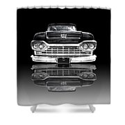 Ford F100 Truck Reflection On Black Shower Curtain