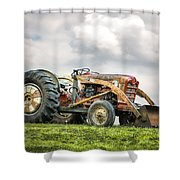Ford Powermaster Tractor On A Hill Shower Curtain by Gary Heller