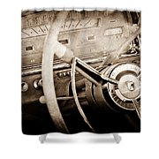 Ford Steering Wheel Emblem Shower Curtain