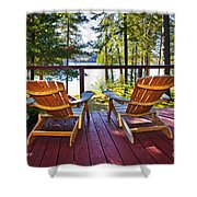 Forest Cottage Deck And Chairs Shower Curtain