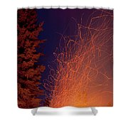 Forest Fire Danger Hot Spark Trails From Campfire Shower Curtain
