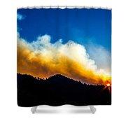 Forest Fire Sunset Shower Curtain