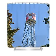 Forest Fire Watch Tower Steel Lookout Structure Shower Curtain