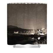 Forest Of Stars Above The Chapel On The Rock Sepia Shower Curtain
