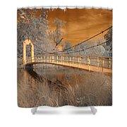 Forest Park Bridge Infrared Shower Curtain