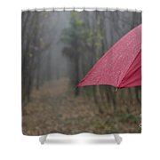 Forest With A Red Umbrella Shower Curtain