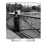 Forever Love In Paris - Black And White Shower Curtain