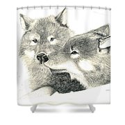Forever Wolf Love-the Greeting Shower Curtain