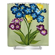 Forget Me Nots And Butterflies Shower Curtain